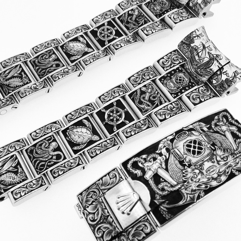 Hand engraved Rolex straps and clasp