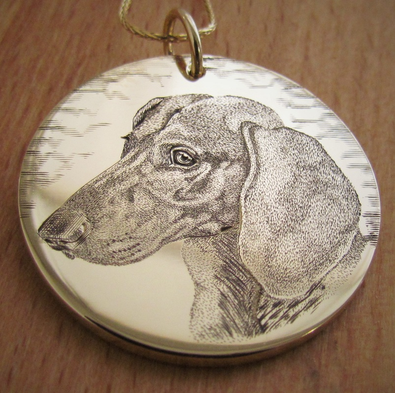 9ct yellow gold pendant hand engraved with a Dachshund portrait