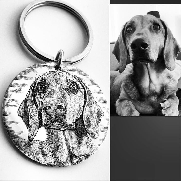 Sterling silver dogtag keyring hand engraved with a Dachshund pet portrait.