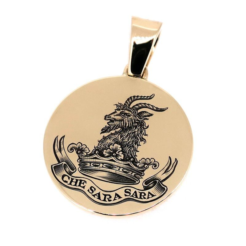 9ct yellow gold pendant with a hand engraved family crest