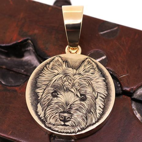 9ct yellow gold pendant with a hand engraved cat portrait